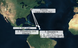 mapa anthem ots južni karibi iz new yorka