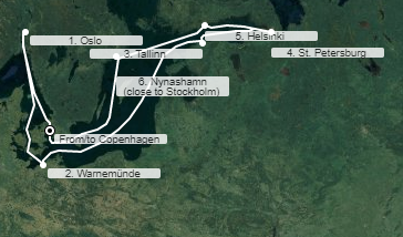 mapa sky princess baltik kopenhagen