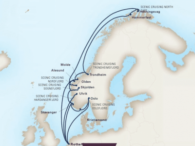 mapa ms rotterdam hollan america norveški fjordi in north cape