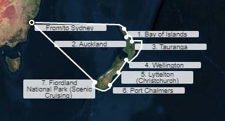 Dan Destinacija Prihod Odhod 1 Sydney, Avstralija - 16:00 2 Plovba - - 3 Plovba - - 4 Bay of Islands, Nova Zelandija 08:00 18:00 5 Auckland, Nova Zelandija 07:00 18:00 6 Tauranga, Nova Zelandija 06:15 17:30 7 Plovba - - 8 Wellington, Nova Zelandija 08:00 18:00 9 Christchurch, Nova Zelandija 08:00 18:00 10 Port Chalmers, Nova Zelandija 08:30 18:00 11 Fiordland, Nova Zelandija 10:00 19:00 12 Plovba - - 13 Plovba - - 14 Sydney, Avstralija 06:00 -  Informativni itinerar! Ladjar si pridržuje pravico do spremembe poti brez predhodnega obvestila. Prosimo preverite itinerar ob rezervaciji.