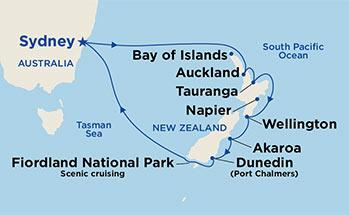 mapa_majestic_princess_avstralija in nova zelandija