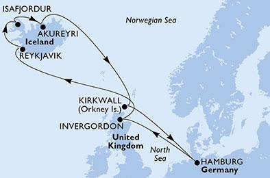 mapa_msc_preziosa_islandija iz hamburga
