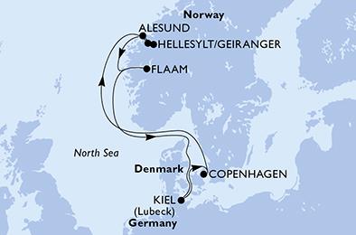 mapa_msc_ meraviglia norveski fjordi 8dni