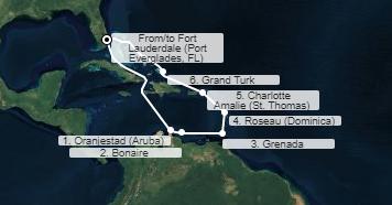 mapa sky princess zahodni karibi