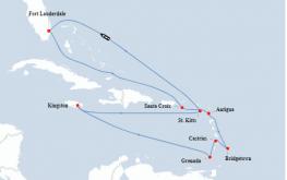 mapa celebrity equinox 13dni vzhodni karibi