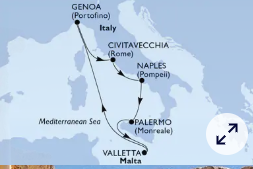 mapa zahodno sredozemlje msc grandiosa italija malta
