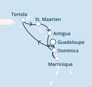 mapa costa favolosa antili in deviški otoki iz Guadalupe