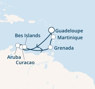 mapa costa favolosa antili iz Guadalupe