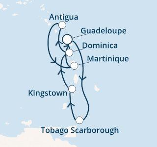 mapa costa favolosa antili iz Guadalupe novo leto